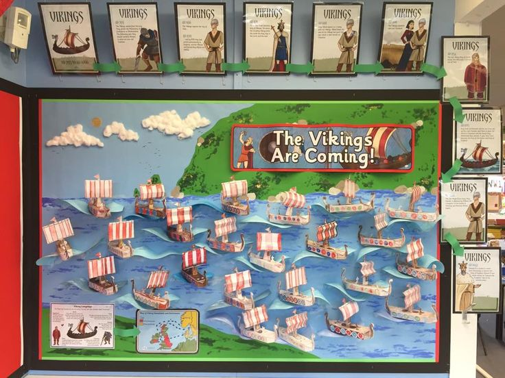 """Amazing """"The Vikings Are Coming!"""" Wall Display! Using twinkl resources, and yes, those are 3D long boats on the wall!"""