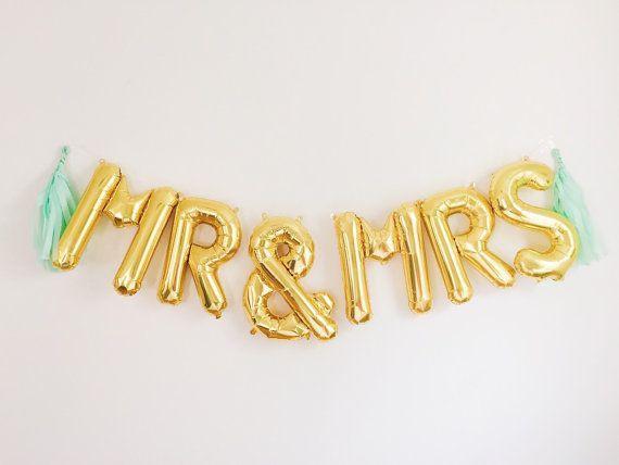MR & MRS letter balloons - gold foil mylar letter balloons - banner with tassels kit