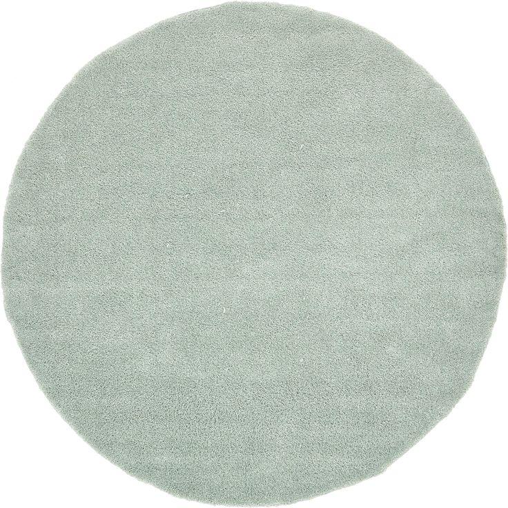 Unique Solo Solid Round Shag Rug (8' x 8') (Pale Blue), Size 8' x 8'