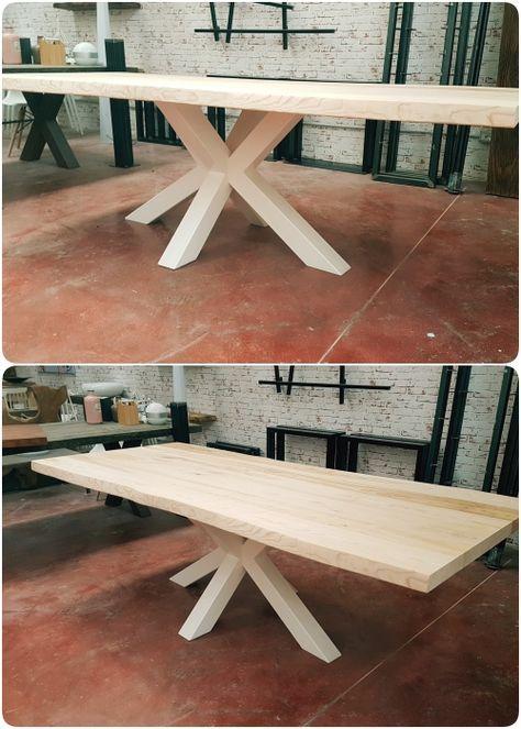 Tavolo da pranzo legno massello chiaro Big X gamba centrale in ferro ...