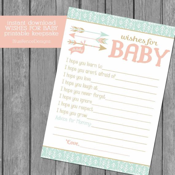 Wishes For Baby Keepsake Baby Shower Game by BlueFenceDesigns