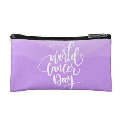 Purple World Support Cancer   Small Cosmetic Bag - watercolor gifts style unique ideas diy