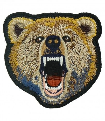 Brown Grizzly Bear Patch Wild Animal Patches Blauw