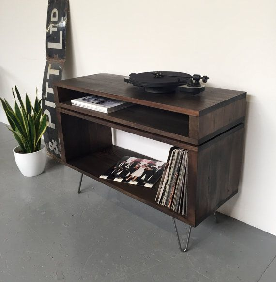 Gestapeld TV / Media Console ideale Vinyl Record opslag