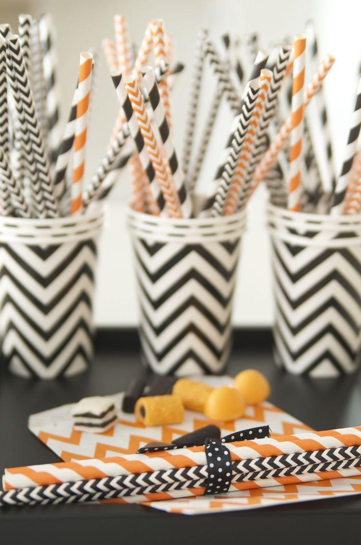 paper straw, black, orange, Halloween
