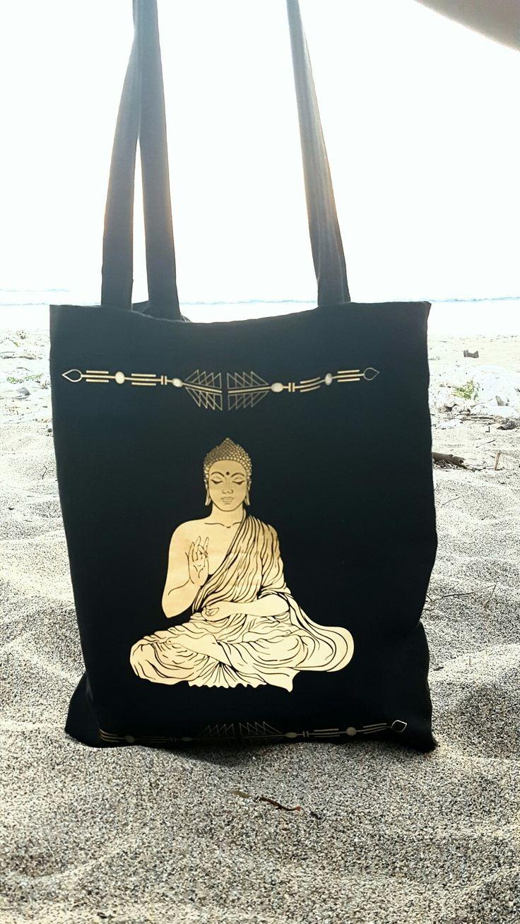 Tote bag noir - Marquage buddha doré