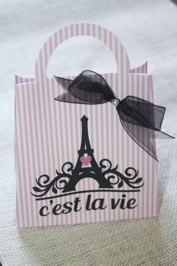 Paris favor bag  Paris party theme favor Set of by JoSeasonsCrafts
