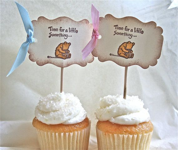 Baby Shower Cupcake Picks Decoration : 17 Best images about Classic Pooh Inspired Baby Shower on ...