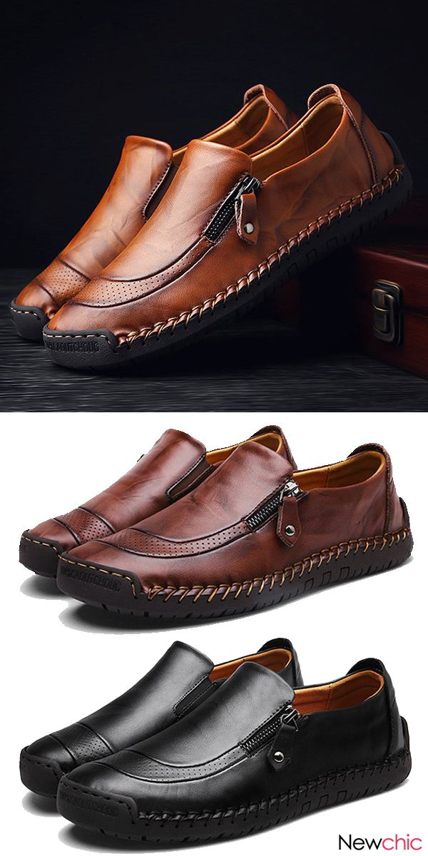 34727c96ce5  US  47.22 Men Hand Stitching Zipper Slip-ons Leather Shoes  shoes  casual   leather  menswear