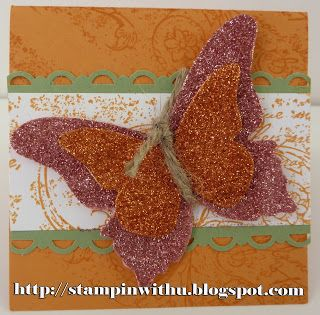 Big Shot Butterfly's - Sticky paper and Glitter... Oh so shiny!!!  Make n Take - July 2011