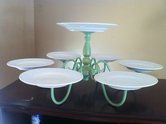DESSERT TABLE: Use an old chandelier to make a multi tier cake stand!