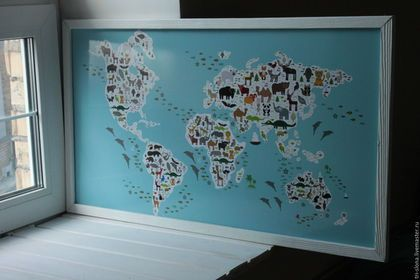 """Подвески ручной работы. Доска для магнитов """"Карта мира для детей"""". Семейная мастерская """"Три Слона"""". Ярмарка Мастеров."""