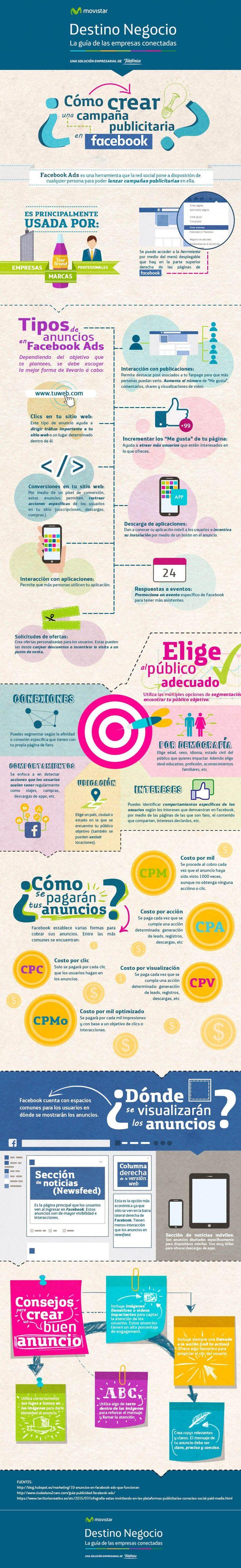 Cómo crear una campaña publicitaria en Facebook #infografia #socialmedia #marketing