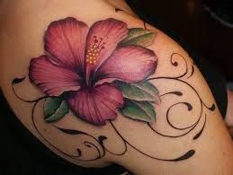 Image result for red rose and exotic flower tattoos