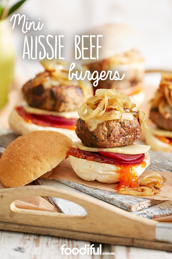 There's nothing better than an Aussie beef burger on Australia Day, but these may just be! As they come in mini size, they're a lot easier to handle, especially at parties and one hand already occupied with a drink! It's okay, you can always have seconds. This burger recipe takes 42 minutes and serves 8 people.