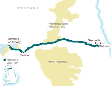 I WANT TO WALK Hadrian's Wall Path.   Walk from coast to coast following the World Heritage Site of Hadrian's Wall, past Roman settlements and forts.