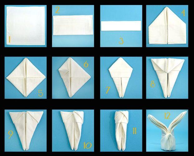 17 images about napkin fold tutorial on pinterest creative napkin folding and folding napkins - Fold bunny shaped napkin ...