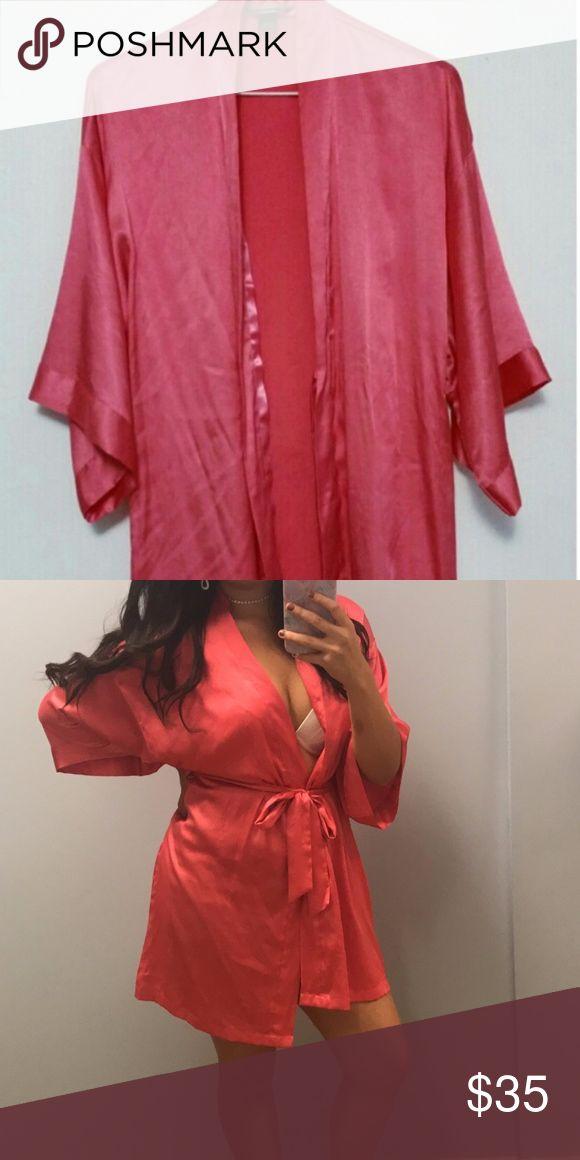 Victoria's Secret Hot Pink Silk Robe/Kimono Hot pink silk robe/kimono by Victoria's Secret. Used for my Halloween costume. Brand new condition. Comes with waist tie. Victoria's Secret Intimates & Sleepwear Robes