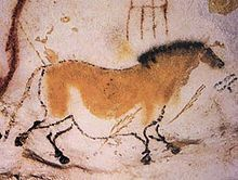 Cave painting of a dun horse at Lascaux - Famous for  Paleolithic cave paintings. The original caves are located near the village of Montignac in the Dordogne - Aquitaine région.                  en.wikipedia.org