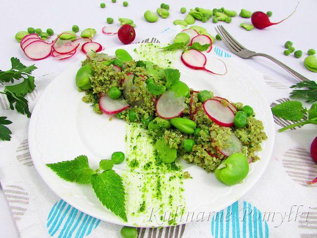 Sałatka z quinoa z miętowym pesto, bobem i zielonym groszkiem