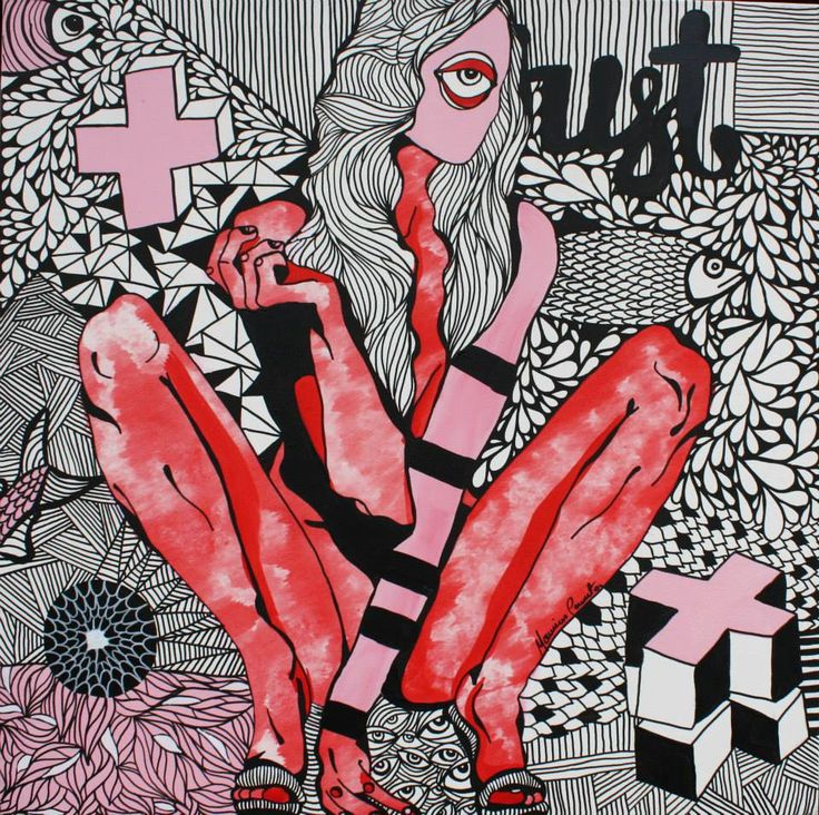 Marcin Painta, Don't be a square XV, akryl na płotnie, 80x80 cm.