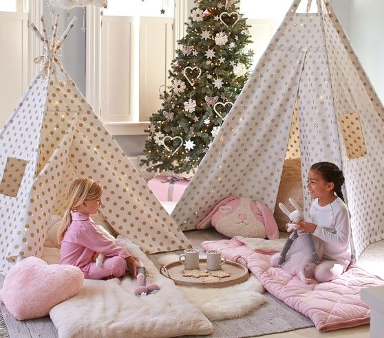 gold metallic dot mini teepee pottery barn kids - Metallic Kids Room Interior