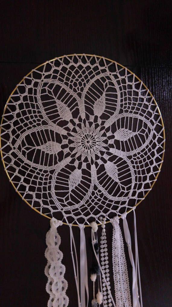 16 White Crochet Dream Catcher by crochetbyjulieg on Etsy