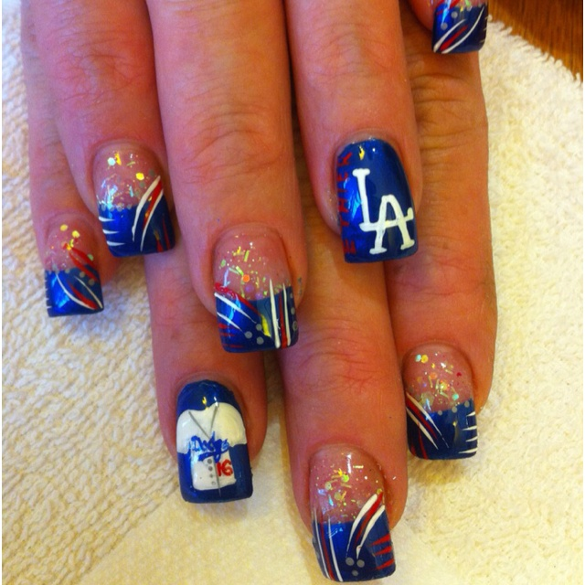 Boo For A Rival Team But Super Cute Nails Nail Art In 2018 Pinterest Dodger And