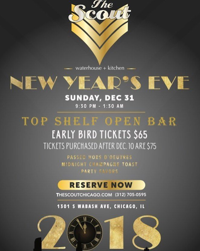Its crunch time everyone!! NYE IS tomorrow so HURRY and buy your NYE tix to the party of the year! . . . . .  #ringin2018 #newyearseve #nyeparty #goodbye2017 #hello2018 #letsparty  #happynewyear #cheerstothenewyear #partyoftheyear #thescoutchicago #love #fancy #popchampagne #allthebubbly #countdowntothenewyear #newyears #chicago #southloop