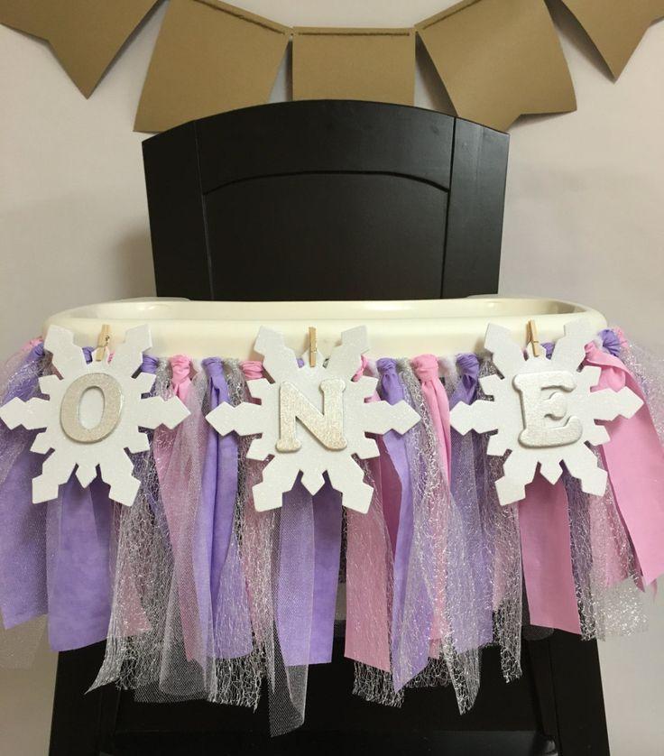 Pink Purple and Silver Frozen Highchair Banner // Frozen First Birthday Highchair Banner // Frozen First Birthday // Frozen Birthday by MKsBowtique on Etsy