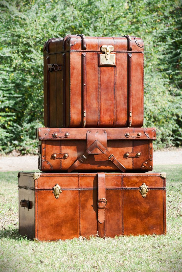 Leather Trunks and Cases. #laurieshomefurnishings. Vintage SuitcasesVintage  ...