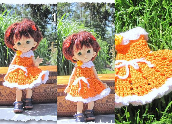 Crocheted dress on a doll Fairyland pukifee Luna 1/8 bjd free