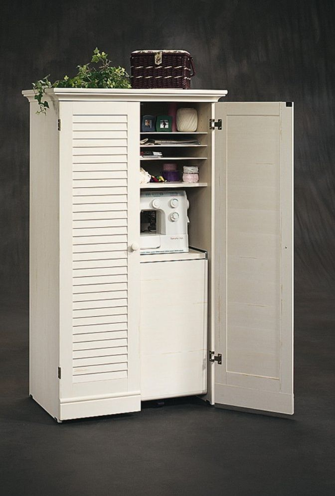 8 Small Space Sewing Areas - Sew Some Stuff Sewing armoire cabinet                                                                                                                                                     More