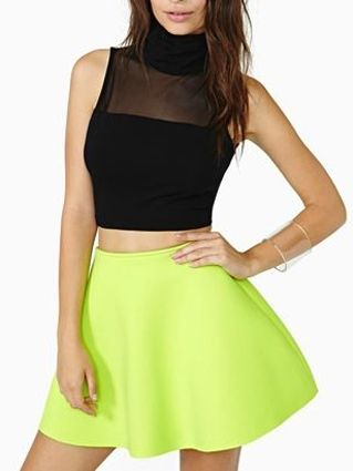 Black High Neck Crop Top With Mesh Plane - Fashion Clothing, Latest Street Fashion At Abaday.com