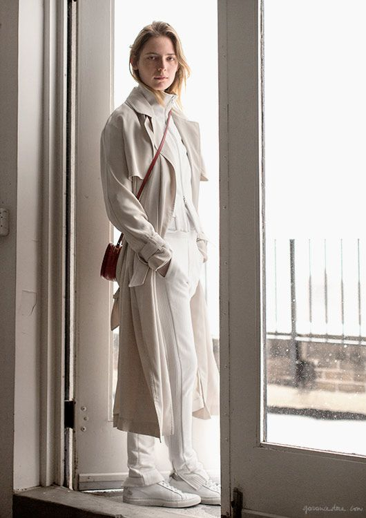 Soft chic sweats, Camilla Deterre, trench, Malene Berger; top and pants, 3.1 Phillip Lim; shoes, Common Projects; bag, Valentino / Garance Doré