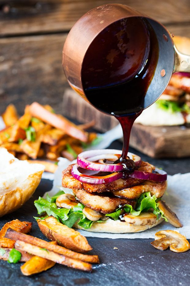 Halloumi burger with sticky chili drizzle.