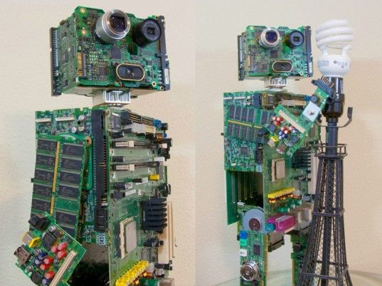 Awesome Circuit Board Robot Built Entirely from E-Waste