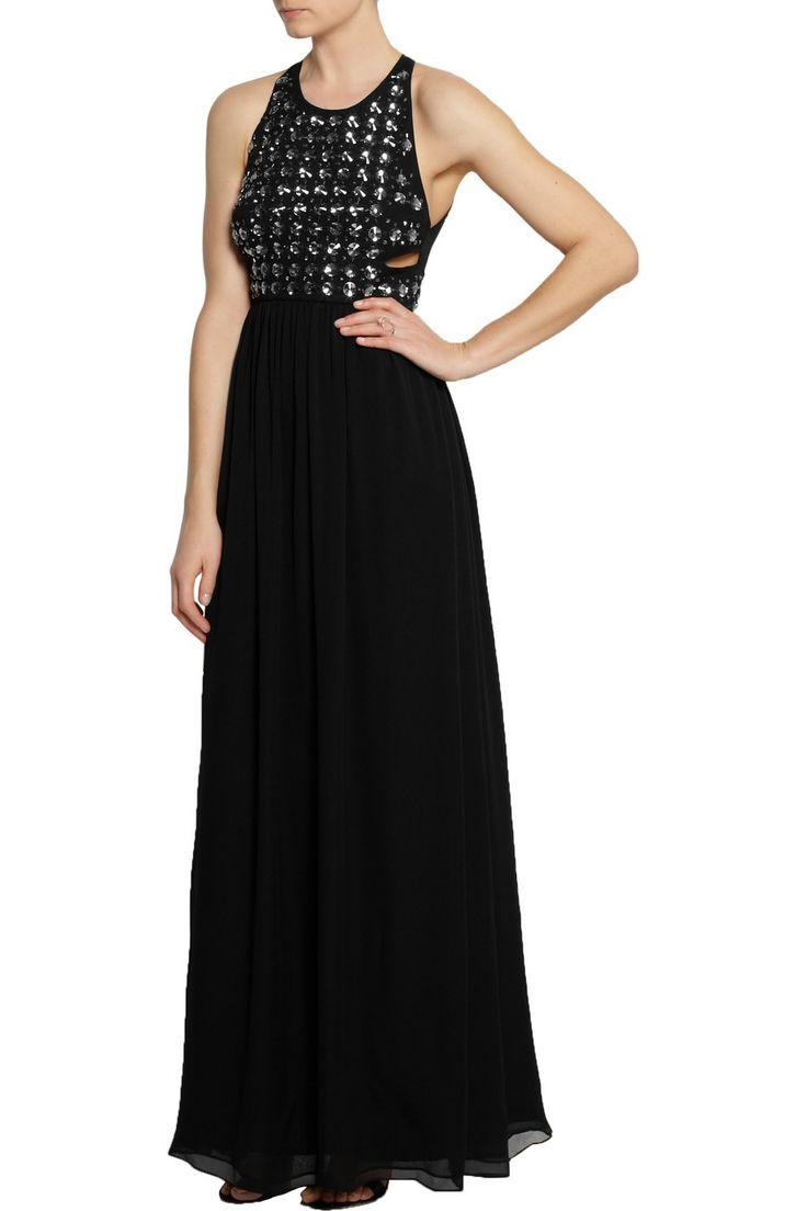 Diane von Furstenberg Black Crystal-embellished silk-chiffon gown