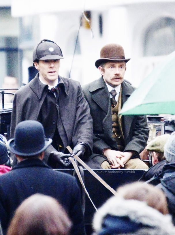Not sure if Martin Freeman is IN character or simply terrified by Cumberbatch's driving. Either way. it's gold.