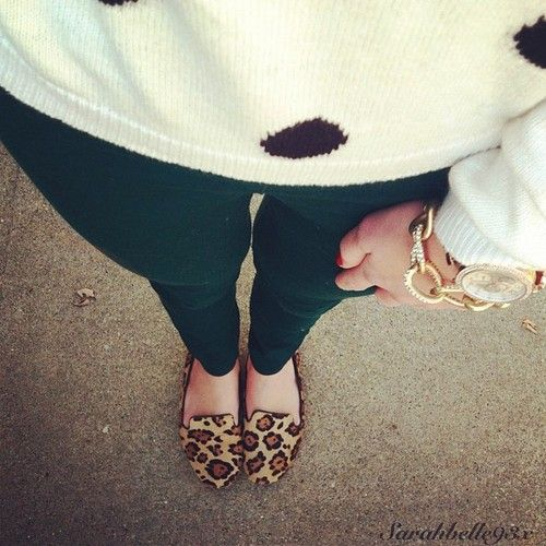 polka dots, green, & leopard - maybe a different king of leopard shoe...i also have a bracelet like that!
