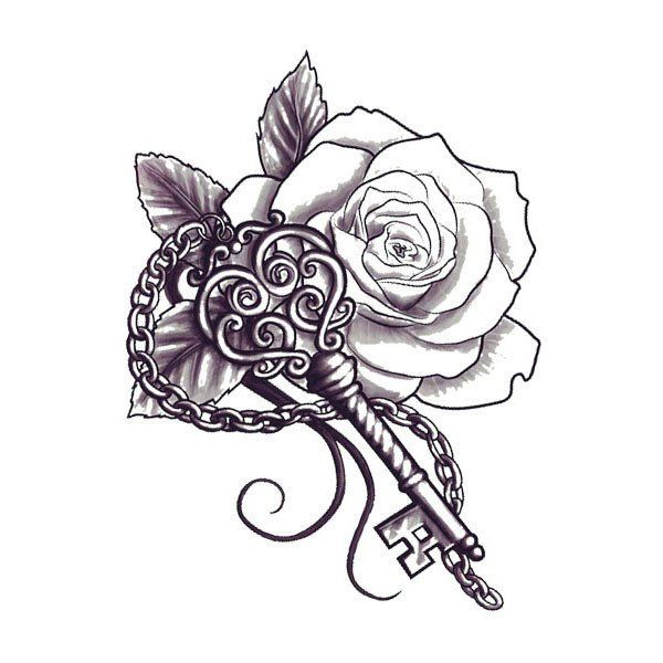"""You hold the key to someone's heart…but whose? This artistic Key and Flower tattoo design is mysterious and temporary! Sheet Size: 1.5"""" x 2"""" - Lasts 5-7 days even with swimming and bathing! - Easy to"""