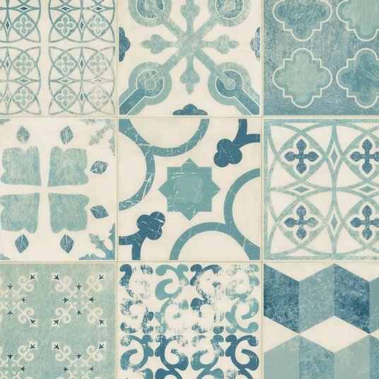 Lino - imitation carreaux de ciment bleu - sol pvc rouleau