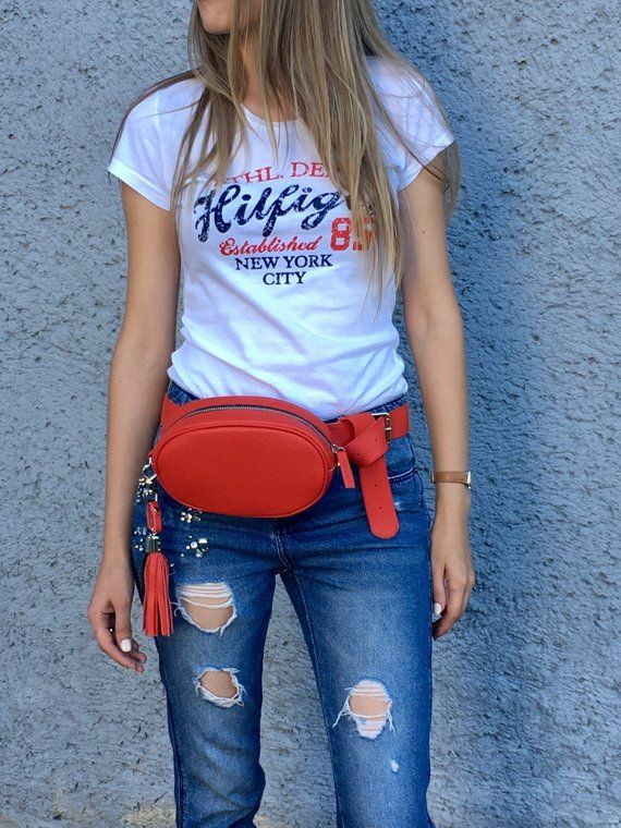 a47946af198 Red leather waist bag, belt pouch, fanny pack for women ...