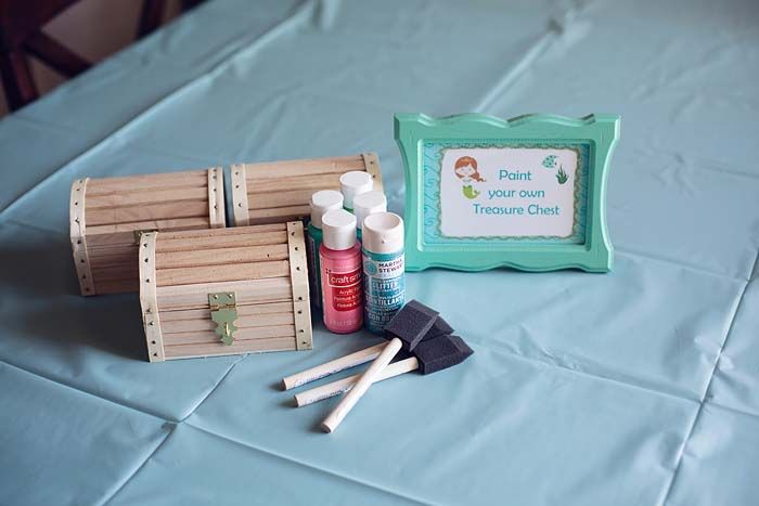 paint your own treasure box - cute idea for an Under the Sea / Mermaid party activity