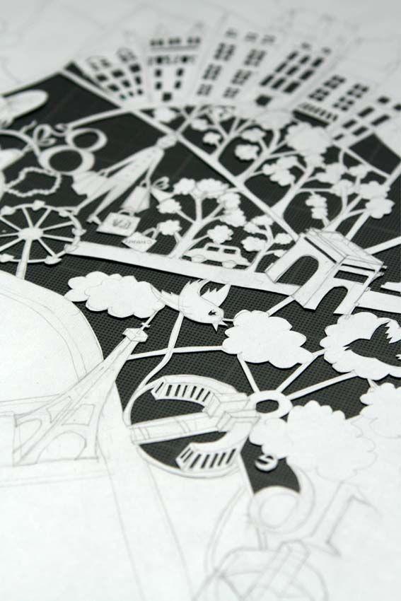 paper cut map, paris, maps, interesting map, france, experimental map, drawing, illustration