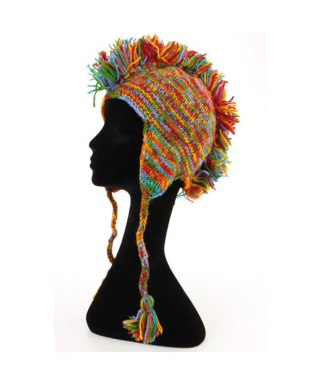LOUDelephant 'Punk' wool knit Mohawk hat - Rainbow Space Dye