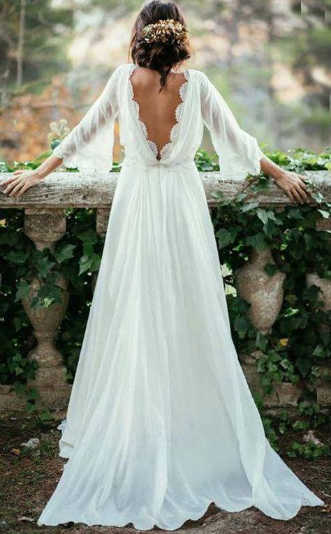 Sexy Ivory Lace Wedding Dresses,Long Sleeve Backless Wedding Dress,Summer Wedding Dresses,Plus Size Wedding Dresses,Beach Wedding Dresses from SIMIBRIDALDRESS