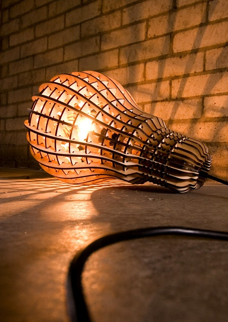 wooden bulb hanging light designed by Barend Hemmes UK