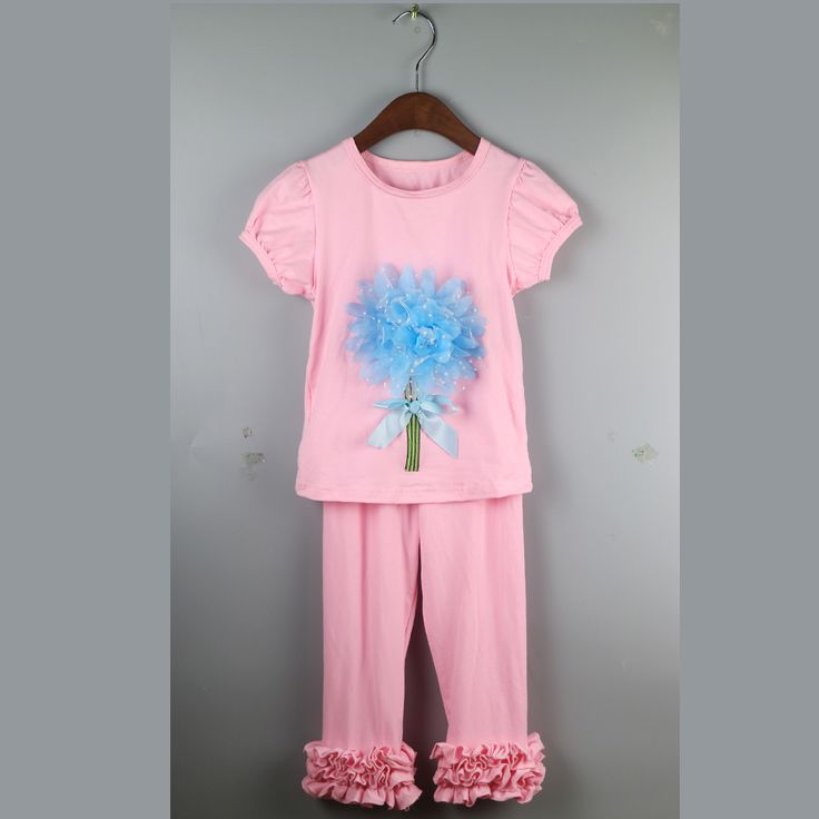 girls home dress with blue flower girl comfortable outfit sets rose style ruffle shirt