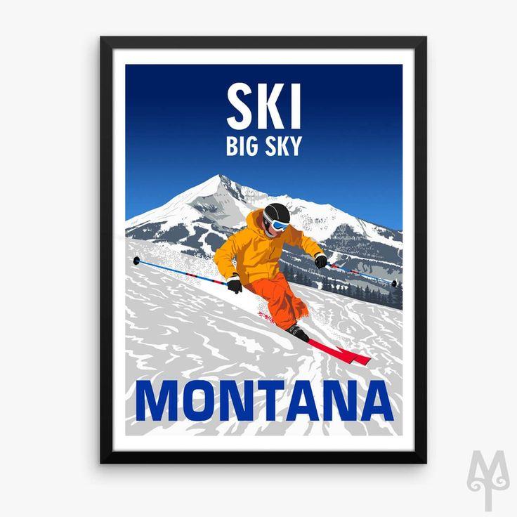 Ski Big Sky Montana, framed poster